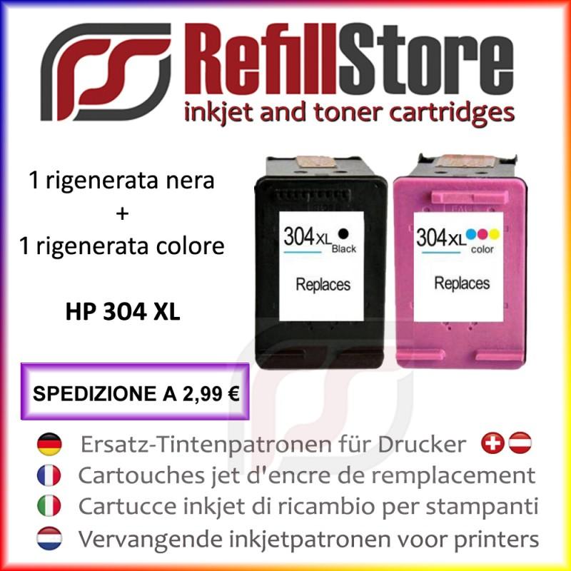 2 cartucce rigenerate HP nero colore 304XL PhotoSmart Envy 5020