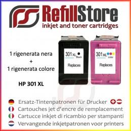2 cartucce rigenerate HP NERO + COLORE modello 301XL DeskJet