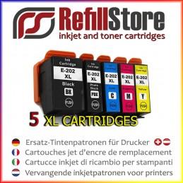 5 cartucce in sostituzione Epson XP6000 XP6005 XP6105 - 202XL -