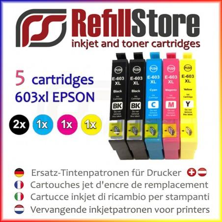 5 cartucce in sostituzione Epson XP2100 XP2105 XP3100 WF2830 WF2850 - 603XL -