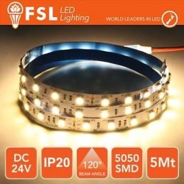 Striscia LED 5m IP20 5050 24V - 12W/m 60led/m 3000K