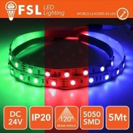 Striscia LED 5m IP20 5050 24V - 12W/m 60led/m RGB
