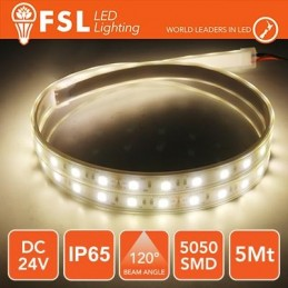 Striscia LED 5m IP65 5050 24V - 12W/m 60led/m 4000K