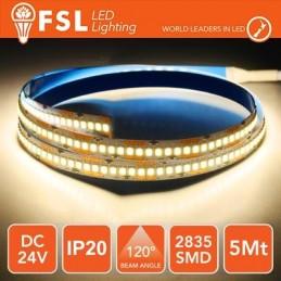 Striscia LED 5m IP20 2835 24V - 16W/m 240led/m 3000K